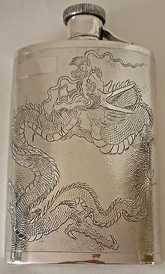 Chinese 900 Sterling Textured & Engraved Dragon Flask 1900