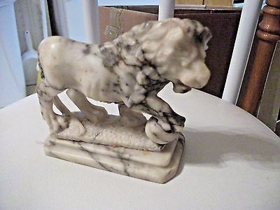 LOOK! Collectible Vintage Carved White Marble LION Statue-NR