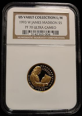 1993-W Proof James Madison Gold $5 Commemorative Coin NGC PF70 UCAM