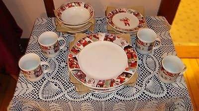 Coca Cola Christmas Dinnerware Coke Set Santa Cups Salad & Dinner Plates Bowls