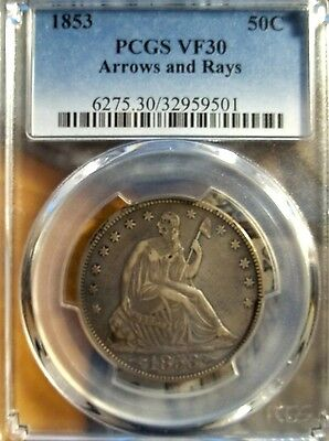 1853 50C Liberty Seated Half Dollar   PCGS VF-30  (Arrows and Rays)