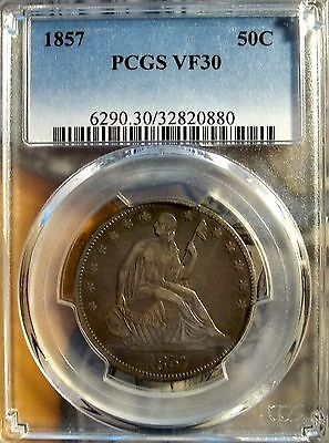 1857 50C Liberty Seated Half Dollar   PCGS VF-30