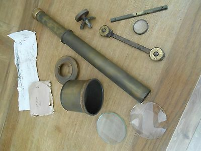 A Collection Of Antique   Brass Telescope / Microscope Parts & Lenses For Spares