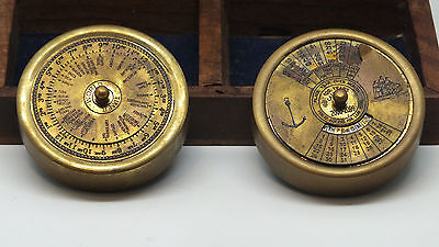 Nautical Marine Vintage Wooden Box with Brass 100 Year Calendar and World Timer