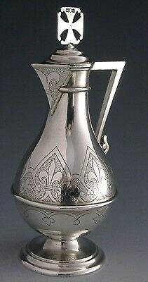 STUNNING GOOD SIZED STERLING SILVER HOLY COMMUNION JUG EWER 1904 ANTIQUE 190g