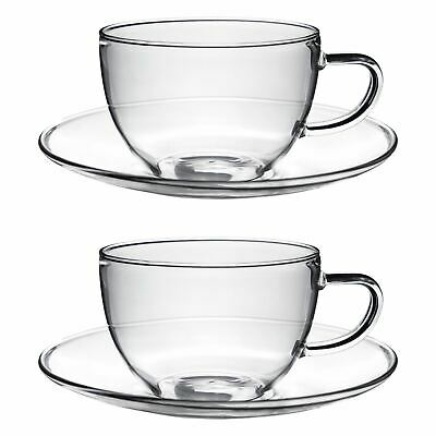 Clear Glass Cappuccino / Tea / Coffee Cup & Saucer - 260ml - Pack of 2