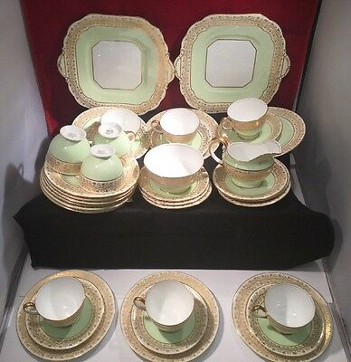 Vintage Ainsley Pea Green & Gold Gilded Tea Set c1934-1939 - 36 Piece B4194
