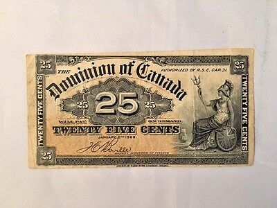 1900  Dominion Of Canada  25 Cent Note  Fractional Currency