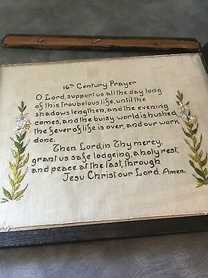 Old hand embroidered picture 16th Century Prayer