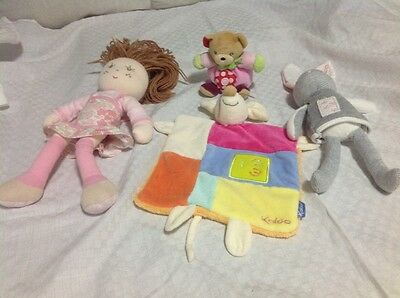 Kaloo Pack - 4 Items - Comforter, Doll, Bear and Rabbit -  Good Condition