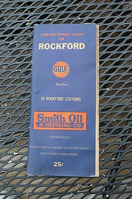"1962 Smith Oil ""GULF"" dealer fold out map Rockford Illinois IL, 24"" X 18"""