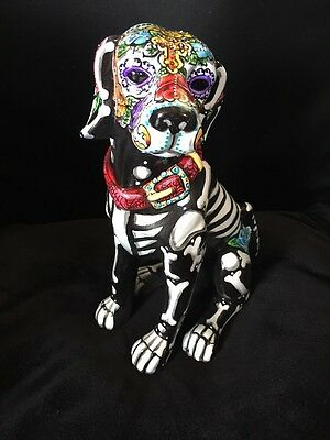 Large Labrador Retriever Day Of The Dead Dog Statue Sugar Skull Hand painted Art