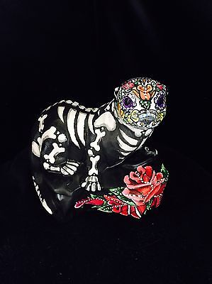 Day Of The Dead Ferret Statue Sugar Skull Original Art Otter Ooak Hand Painted