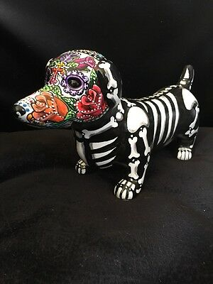 Sugar Skull Day Of The Dead Dachshund Dog Statue Art Doxie  Memorial Signed 2017
