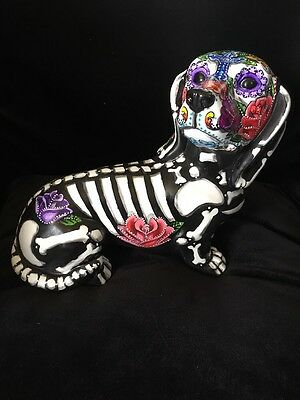 Sugar Skull Day Of The Dead Dachshund Large Dog Statue Art Doxie Hound Memorial
