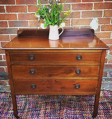 Antique Edwardian Mahogany Inlaid Sideboard Wash Stand Chest Of Drawers Vintage