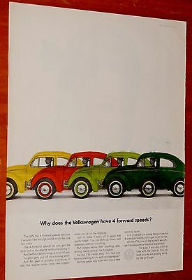 Unique 1963 Volkswagen Beetle Artist Colored One Of A Kind Ad - Vintage Vw 60S