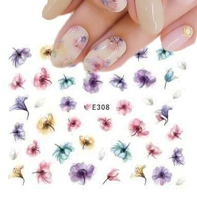 Nail Art Water Decals Stickers Transfers Summer Water Effect Flowers tulips E308