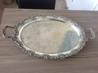 """Large Victorian Heavy Silver Plated Platter Tray Vines And Berries 25"""" X 15"""""""