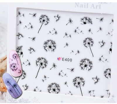 Nail Art Water Decals Transfers Stickers Black Dandelions Gel Polish (E400)