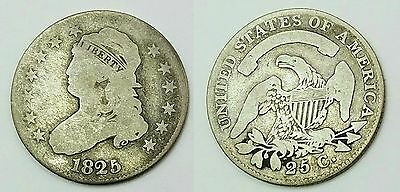 1825/4 Capped Bust Quarter Dollar 25 Cents Silver Coin Overdate