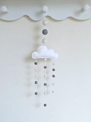 Nursery Mobile-My First Room-Cloud-White and Grey-Gender Neutral-New Baby Gift