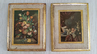 SALE Vintage Italian Florentine Wall Plaques Floral Roses Fruit Pair Victorian