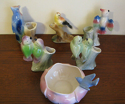 6  Vintage Royal Copley Birds Spill Vases     Great Condition