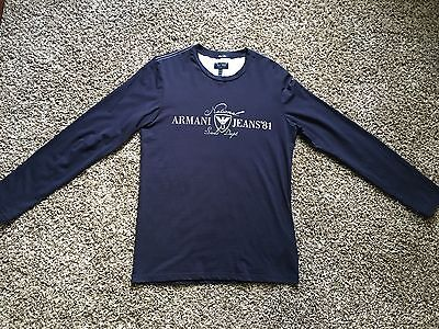 NWOT Armani Jeans men's long sleeve T-shirt navy size M LOWEST PRICE!