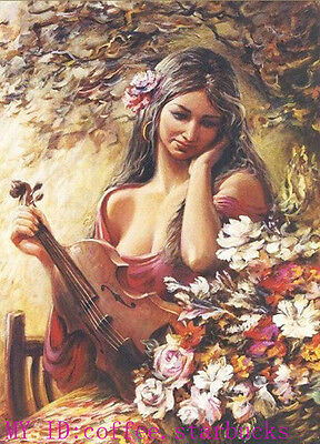 """Art Repro Oil painting:""""Lady portrait have Violin at canvas"""" 24x36 Inch #001"""