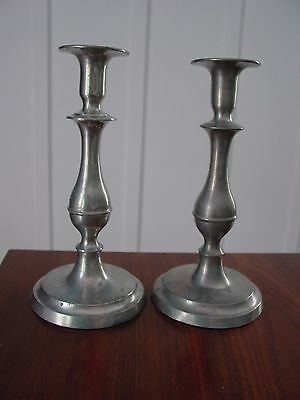 Pair of 1850 Era American Pewter Candlesticks