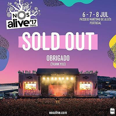 NOS Alive 2017 Ticket for 3 days Lisboa @ Passeio Maritimo Alges (SOLD OUT)