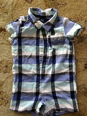 Baby Gap Boy's One Piece Outfit Blue Plaid Size 6-12 Months