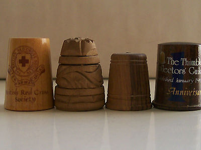 4 Nice Collectable Wooden Thimbles: Red Cross, Collectors Guild, Carved etc