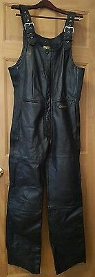 New Hein Gericke Thick Black Leather Motorcycle  Overalls - Men's Size 36