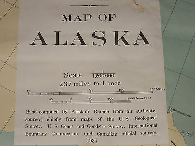 "Extra Large Vintage Map Of Alaska 1934 58"" x 40"""