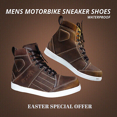 Motorbike Motorcycle Waterproof Genuine leather Bikers Boots Summer Shoes Brown