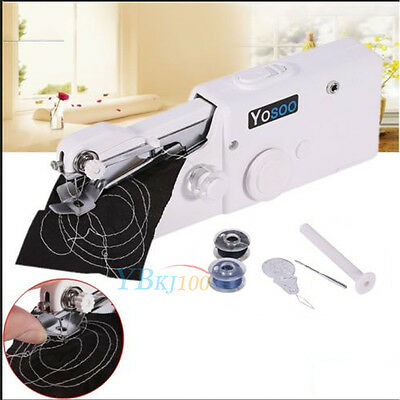 Portable Hand Held Cordless Sewing Machine Quick Stitch Clothes Fabric Travel