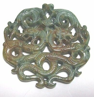 Vintage Jade Double Dragon Amulet