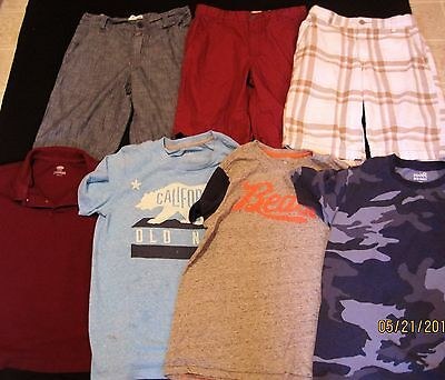 7 Piece Lot Boys Summer Clothes - Size 10 12 Old Navy shorts polos j188