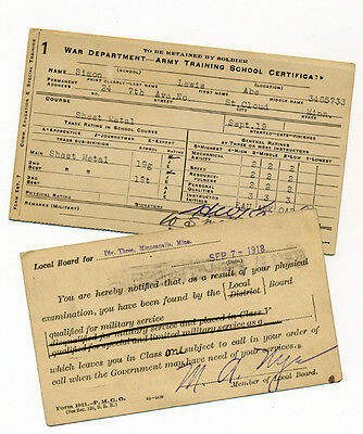 Rare Vintage U.S. War Department Army Training Certificate Physical Release WWI