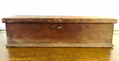 Antique PA Early 19th C PRIM Tool LOCK Document SQUARE Nails MOLDING BOX Patina