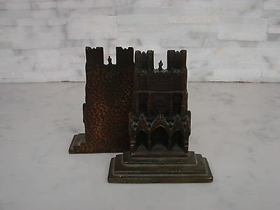 Old English Rheims Cathedral Bookends  Cast Brass