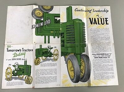 Vintage John Deere Advertising Brochure Poster 1938 Model A & B Tractor