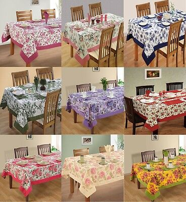6 Seater Kitchen Dining Table Cloth Linen Set 100% Cotton with Matching Napkins