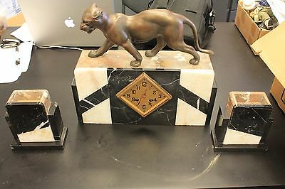 1920s French Art Deco Bronze Jaguar Marble Clock w/ pair of matching garnitures