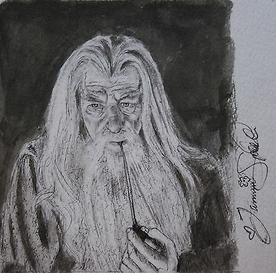 """ORIGINAL India Ink Drawing from #Inktober2016 """"Gandalf, Lord of the Rings"""""""