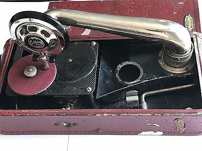 Antique Portable Gramophone Thorens Excelda Red Wind Up Swiss Phonograph