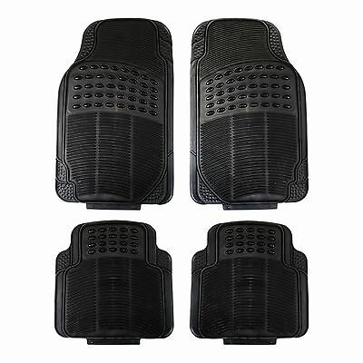 Rubber Luxury 4 Piece Car Van Mat Set Heavy Duty Universal Black Non Slip Mats