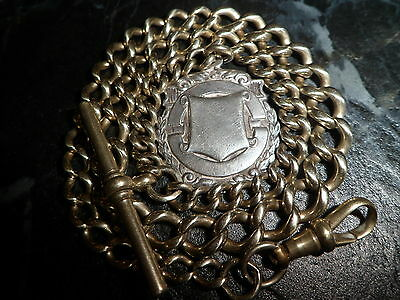 Antique Victorian Gold Tone Graduated Albert Pocket Watch Chain Solid Silver Fob